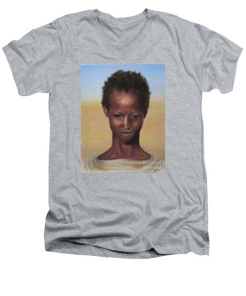 Men's V-Neck T-Shirt featuring the painting Africa by Annemeet Hasidi- van der Leij