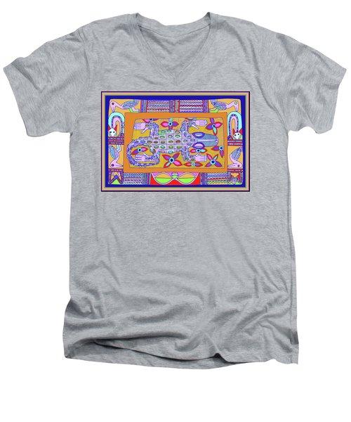 Men's V-Neck T-Shirt featuring the digital art African Croc Beach Bum by Vagabond Folk Art - Virginia Vivier