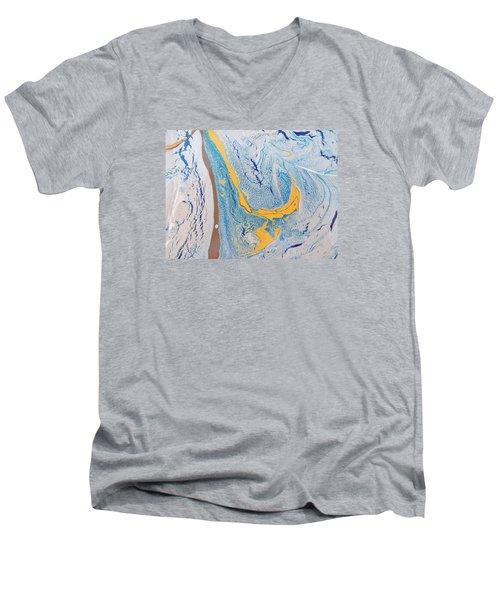 African Dolphin Coast Men's V-Neck T-Shirt by Gyula Julian Lovas