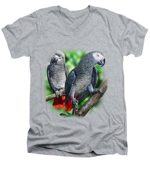 African Grey Parrots A Men's V-Neck T-Shirt by Owen Bell