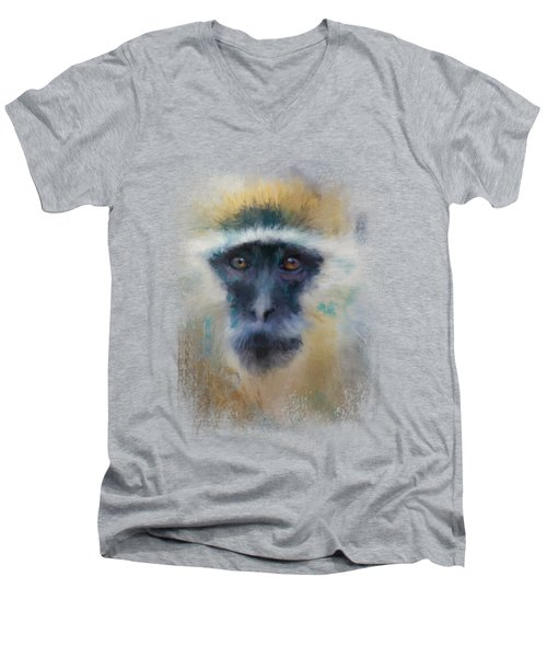 African Grivet Monkey Men's V-Neck T-Shirt by Jai Johnson