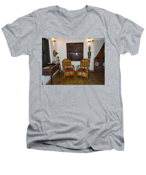 African Interior Design 5 Beaded Chairs Men's V-Neck T-Shirt by Exploramum Exploramum