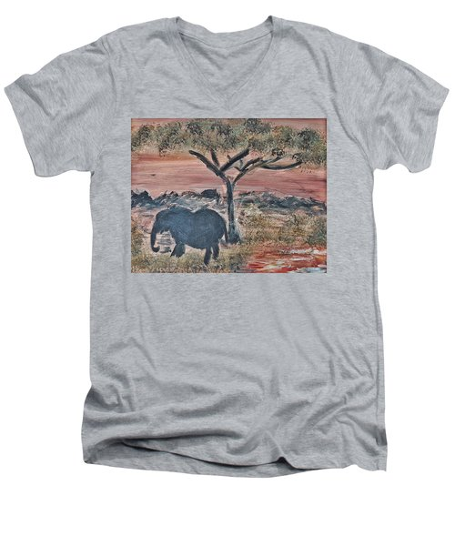 African Landscape With Elephant And Banya Tree At Watering Hole With Mountain And Sunset Grasses Shr Men's V-Neck T-Shirt by MendyZ