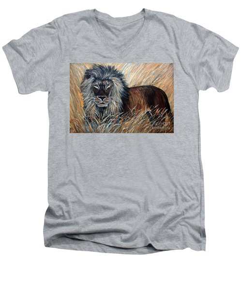 African Lion 2 Men's V-Neck T-Shirt