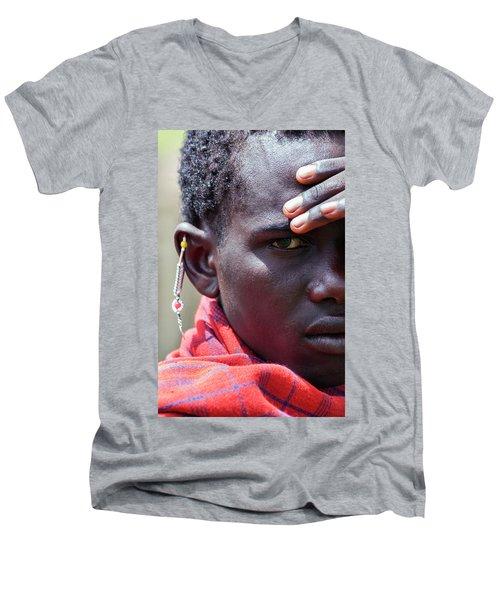African Maasai Warrior Men's V-Neck T-Shirt