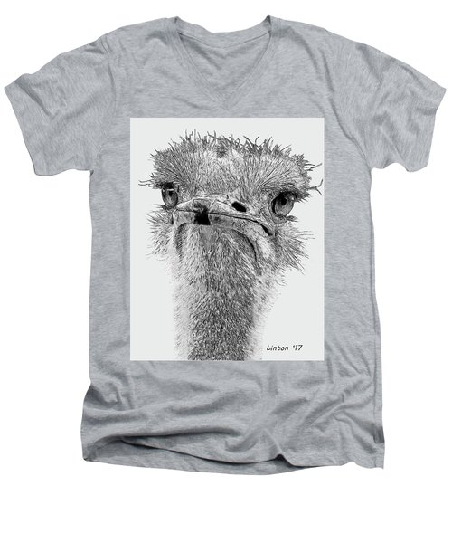African Ostrich Sketch Men's V-Neck T-Shirt