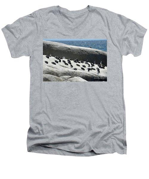 Men's V-Neck T-Shirt featuring the digital art African Penguin 4 by Eva Kaufman