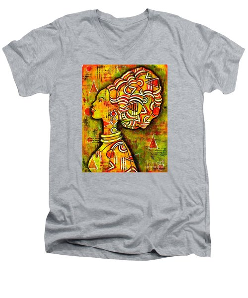 Men's V-Neck T-Shirt featuring the painting African Queen by Julie Hoyle
