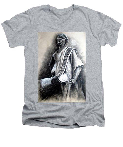 African Rythm Men's V-Neck T-Shirt by Bankole Abe