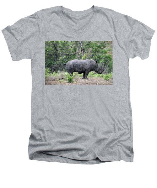 African Safari Naughty Rhino Men's V-Neck T-Shirt