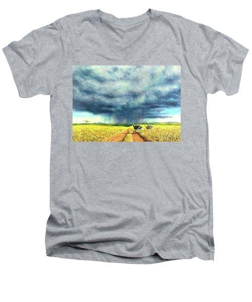 African Storm Men's V-Neck T-Shirt by Tilly Willis