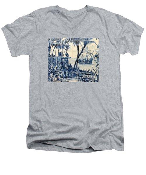 African Tile Art Men's V-Neck T-Shirt by John Potts