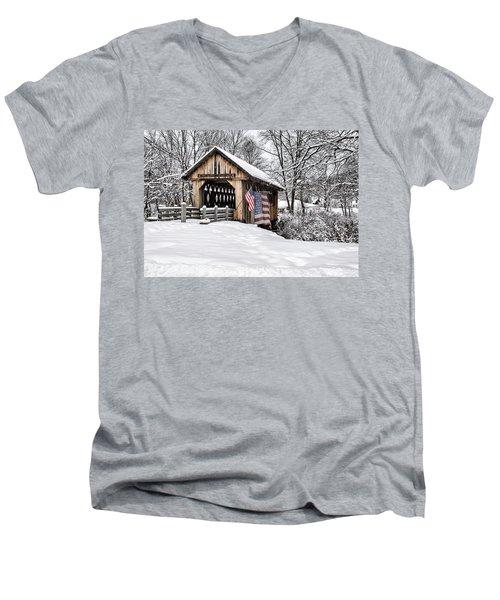 After A Winter Snow Storm Cilleyville Covered Bridge  Men's V-Neck T-Shirt