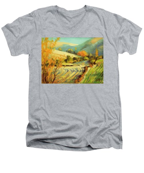 Men's V-Neck T-Shirt featuring the painting After Harvest by Steve Henderson