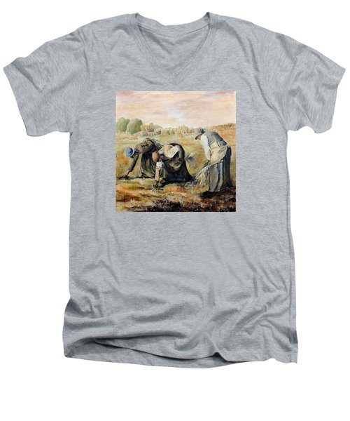 after Jean-Francois Millet  The Gleaners Men's V-Neck T-Shirt