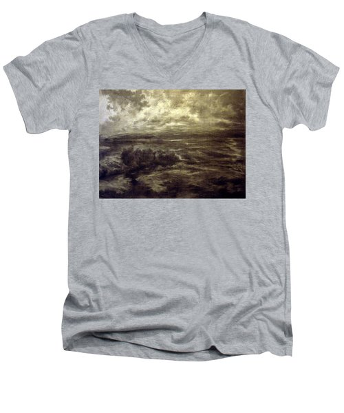 Men's V-Neck T-Shirt featuring the drawing After Rain by Mikhail Savchenko