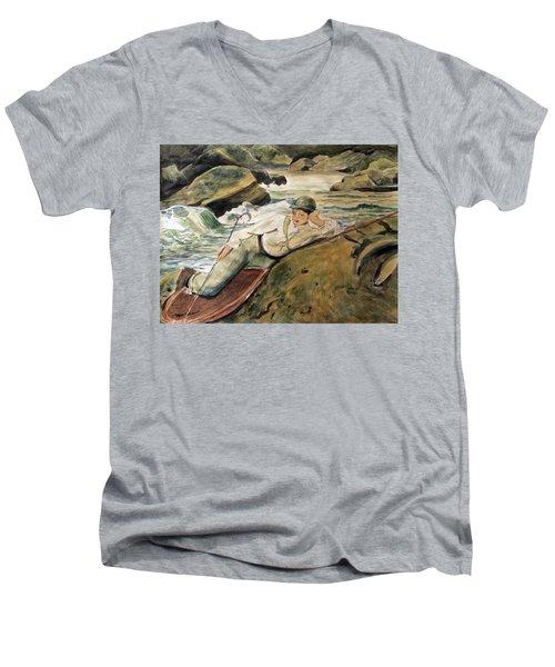 After Sargent Men's V-Neck T-Shirt by Nancy Kane Chapman