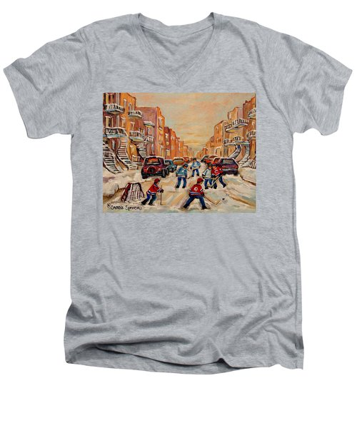 Men's V-Neck T-Shirt featuring the painting After School Hockey Game by Carole Spandau