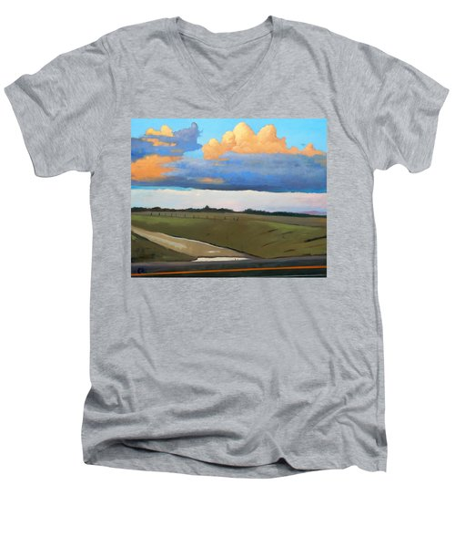 Men's V-Neck T-Shirt featuring the painting After Shower by Gary Coleman