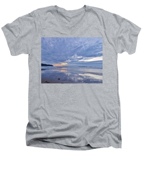 Moonlight After Sunset Men's V-Neck T-Shirt by Michele Penner