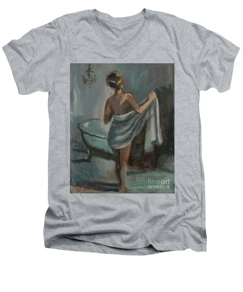 Men's V-Neck T-Shirt featuring the painting After The Bath by Jennifer Beaudet