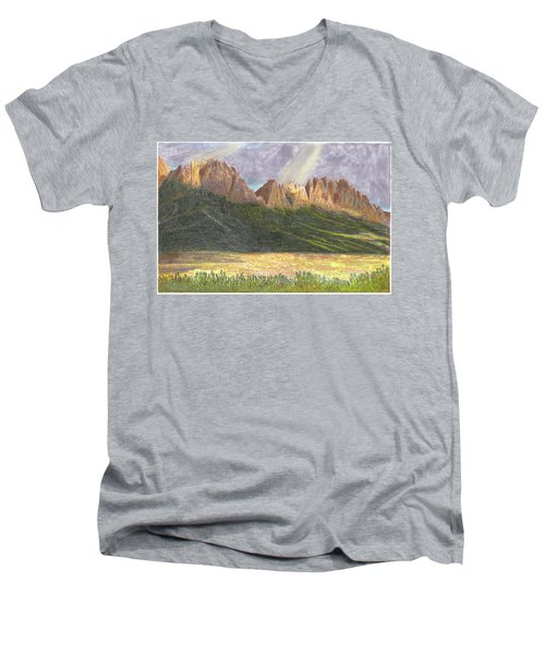 Men's V-Neck T-Shirt featuring the painting After The Monsoon Organ Mountains by Jack Pumphrey