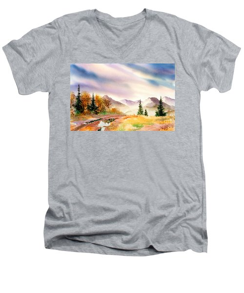 Men's V-Neck T-Shirt featuring the painting After The Rain by Teresa Ascone