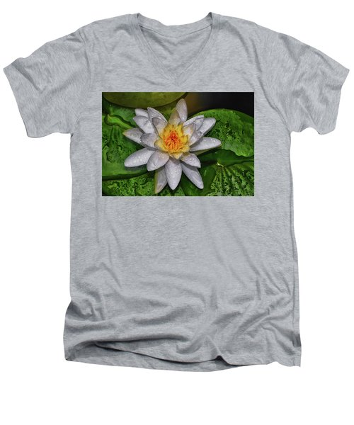 Men's V-Neck T-Shirt featuring the photograph After The Rain - Water Lily 003 by George Bostian