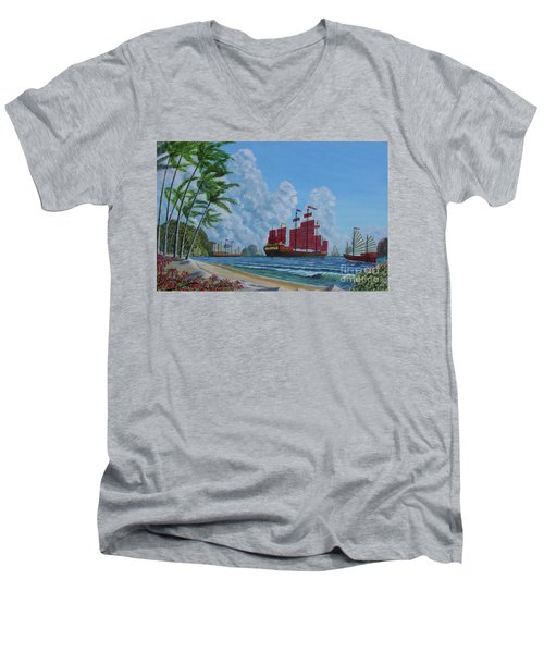 Men's V-Neck T-Shirt featuring the painting After The Storm by Anthony Lyon