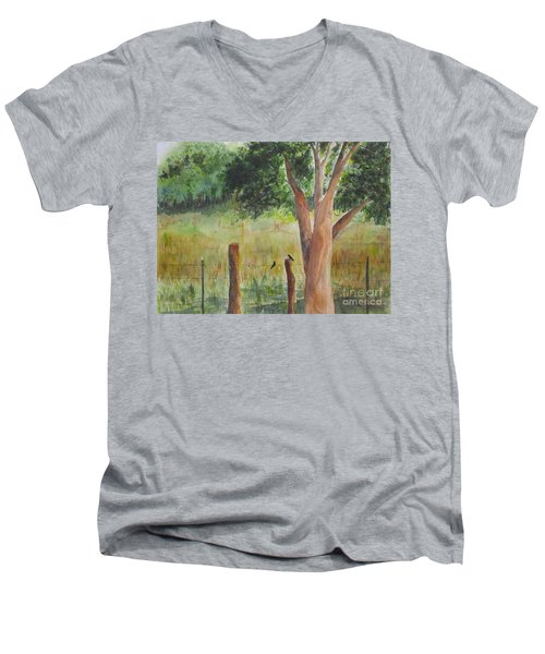 Men's V-Neck T-Shirt featuring the painting Afternoon Chat by Vicki  Housel