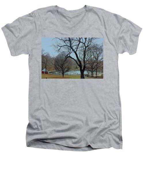Afternoon In The Park Men's V-Neck T-Shirt by Sandy Moulder