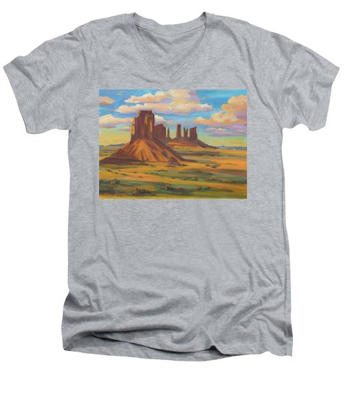Men's V-Neck T-Shirt featuring the painting Afternoon Light Monument Valley by Diane McClary