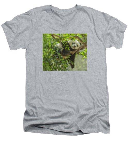 Afternoon Nap Baby Panda Men's V-Neck T-Shirt