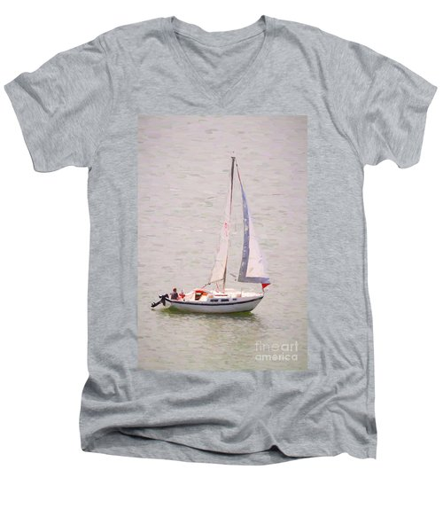 Men's V-Neck T-Shirt featuring the photograph Afternoon Sail by James BO Insogna