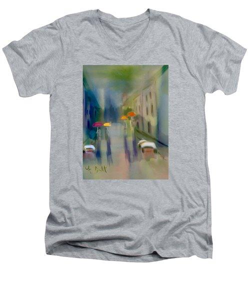 Afternoon Shower In Old San Juan Men's V-Neck T-Shirt by Frank Bright