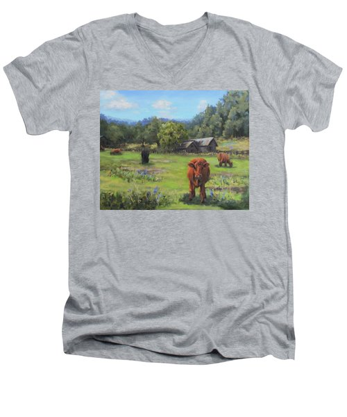 Men's V-Neck T-Shirt featuring the painting Afternoon Snack by Karen Ilari