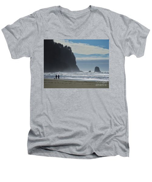 Cape Meares Men's V-Neck T-Shirt by Michele Penner