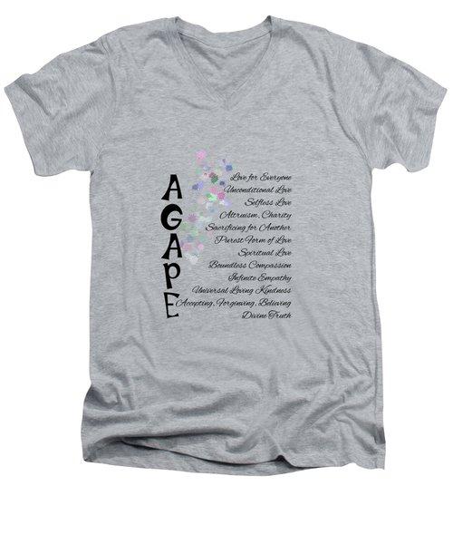 Agape-words Of Love Men's V-Neck T-Shirt