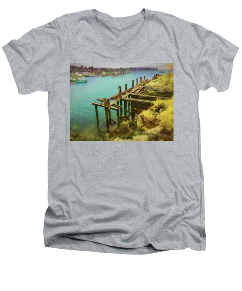 Aged Docks From Winthrop Men's V-Neck T-Shirt