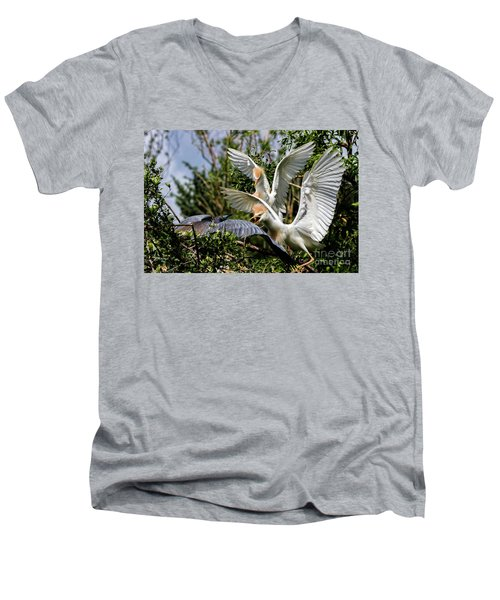 Aggression Between Cattle Egrets And Tricolored Heron Men's V-Neck T-Shirt