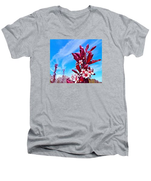 Men's V-Neck T-Shirt featuring the photograph Aglow With Beauty by Randy Rosenberger
