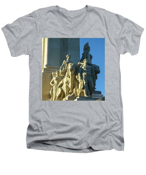Men's V-Neck T-Shirt featuring the photograph Agriculture Allegorie Monument To The Constitution Of 1812 Cadiz Spain by Pablo Avanzini