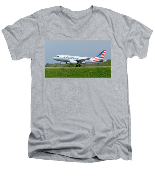 Airbus A319 Men's V-Neck T-Shirt by Guy Whiteley