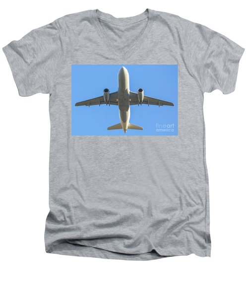 Airplane Isolated In The Sky Men's V-Neck T-Shirt