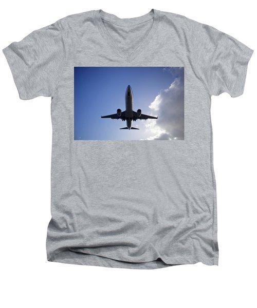 Airplane Landing Men's V-Neck T-Shirt by Teemu Tretjakov