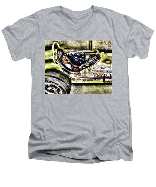 Aj Foyt 1961 Cockpit Men's V-Neck T-Shirt by Josh Williams