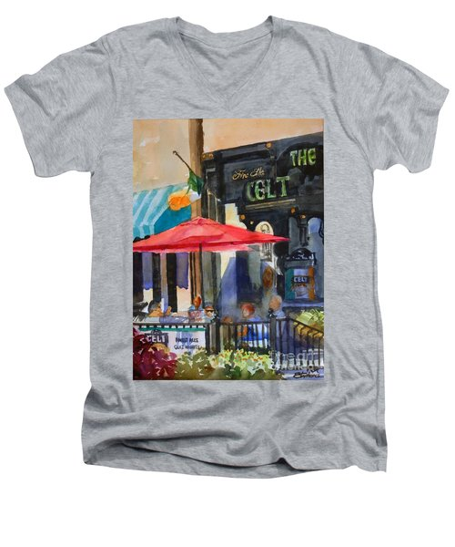 Al Fresco At The Celt Men's V-Neck T-Shirt by Ron Stephens