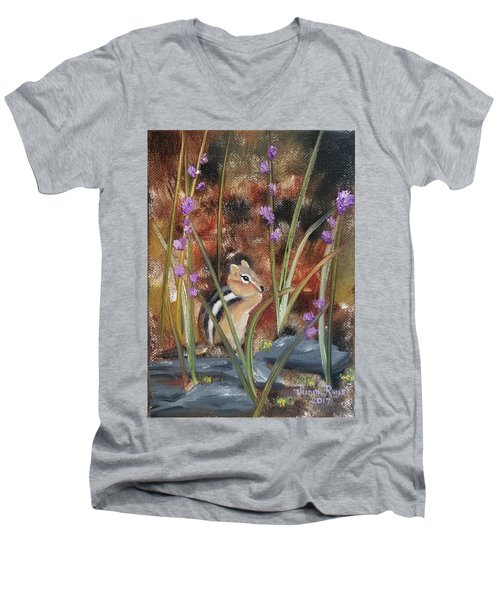 Men's V-Neck T-Shirt featuring the painting Al Fresco Dining With A View by Judith Rhue