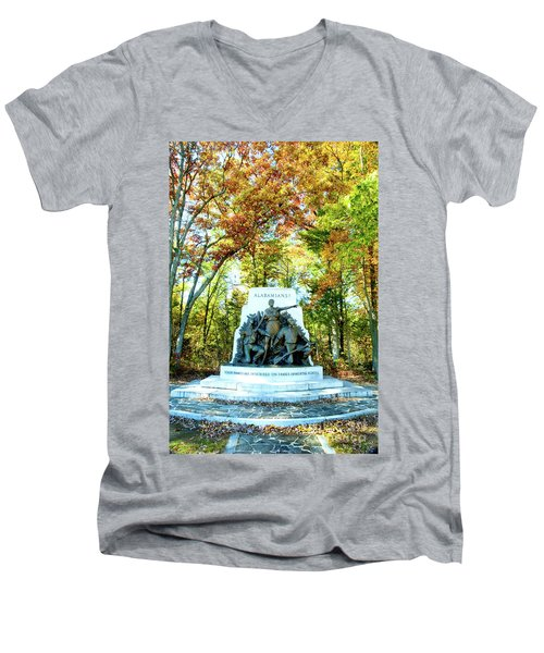 Alabama Monument At Gettysburg Men's V-Neck T-Shirt
