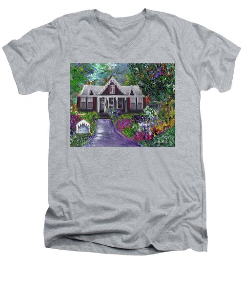 Men's V-Neck T-Shirt featuring the painting Alameda 1854 Gothic Revival - The Webster House by Linda Weinstock